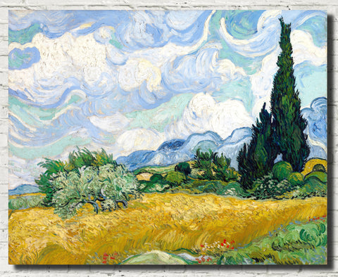 Vincent Van Gogh Fine Art Print, Wheat Field with Cypresses