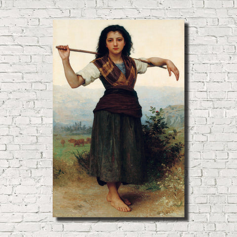 William-Adolphe Bouguereau, Old Masters Figure Print : Little Shepherdess