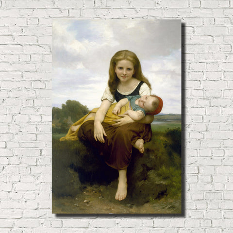William-Adolphe Bouguereau, Old Masters Figure Print : Elder Sister
