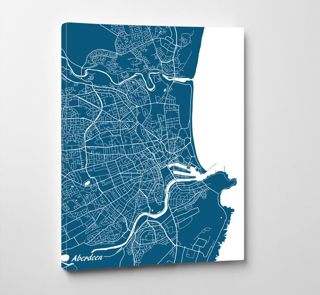 Aberdeen City Street Map Print Custom Wall Map