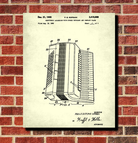 Accordian Patent Print Music Blueprint Poster