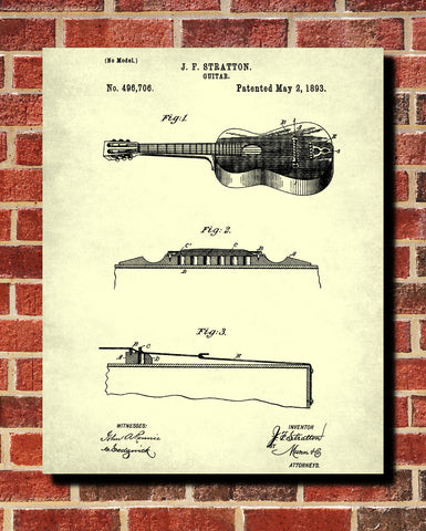 Acoustic Guitar Patent Print Wall Art Poster