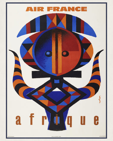 Air France Africa Print Vintage Travel Poster Art