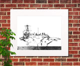 Aircraft Carrier Abstract Print, Naval Ship Poster, Nautical Wall Art