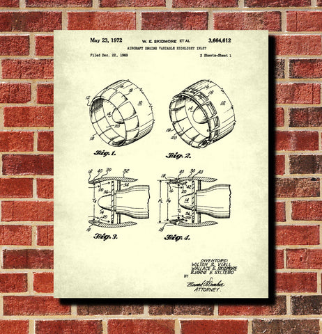 Jet Engine Blueprint Aircraft Patent Print Airplane Poster