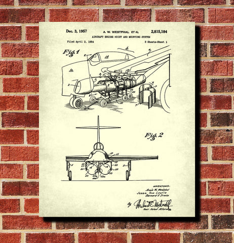 Aircraft Blueprint Art Engine Hoist Patent Print Wall Art Poster