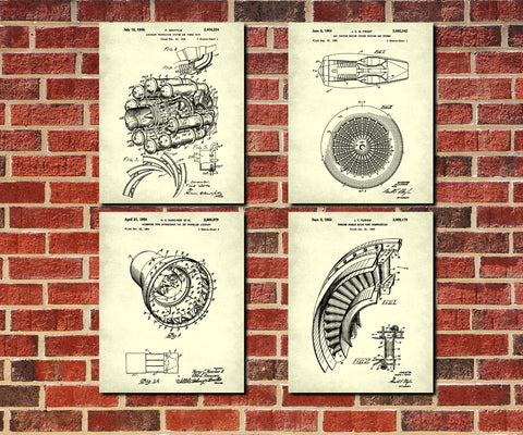 Aircraft Engine Patent Prints Set 4 Jet Engine Posters