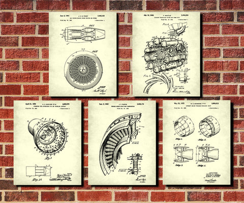 Aircraft Engine Patent Prints Set 5 Jet Engine Posters