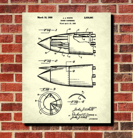 Rocket Dispenser Patent Print Military Aircraft Flying Poster