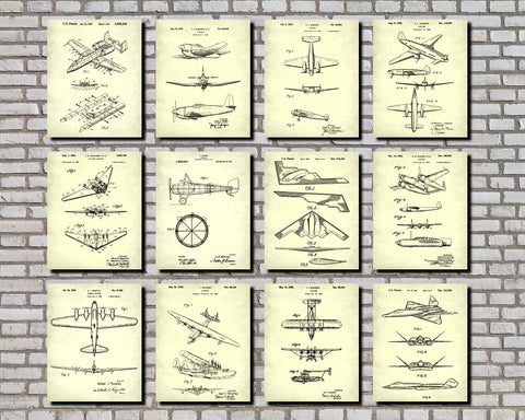 Aircraft Patent Prints Set 12 Flying Posters Pilot Gift
