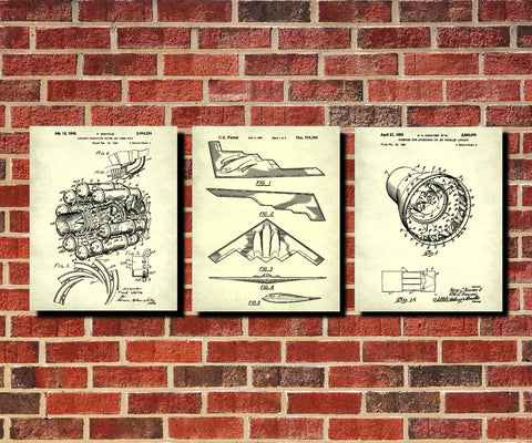 Aircraft Patent Prints Set 3 Airplane Posters Pilot Gift