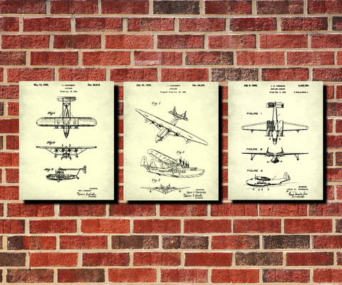 Aircraft Patent Prints Set 3 Flying Boat Seaplane Posters