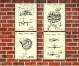 Aircraft Patent Prints Set 4 Vintage Airplane Posters Pilot Gift