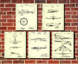 Aircraft Patent Prints Set 5 Flying Posters Pilot Gift