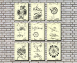 Aircraft Patent Prints Set 9 Flying Posters Pilot Gift