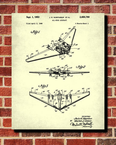 Aircraft Patent Poster Wall Art Aviation Blueprint - OnTrendAndFab
