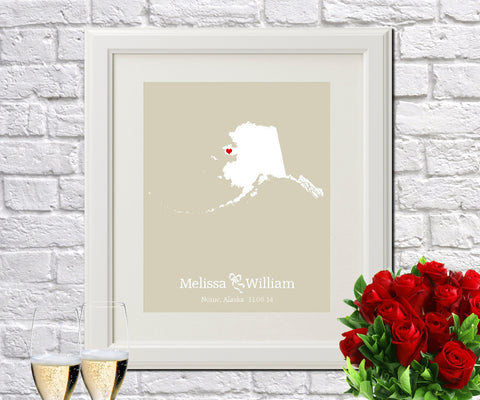 Alaska Custom Wedding Engagement Art Print - OnTrendAndFab