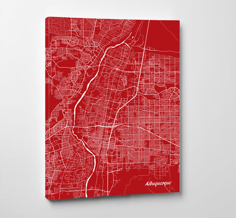 Albuquerque City Street Map Print Feature Wall Art Poster