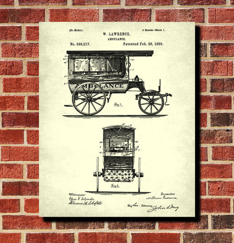 Vintage Ambulance Patent Print Medical Blueprint Poster