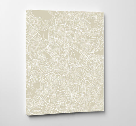 Amman City Street Map Print Feature Wall Art Poster