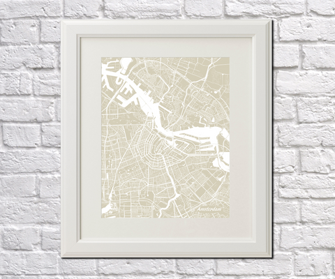Amsterdam City Street Map Print Feature Wall Art Poster
