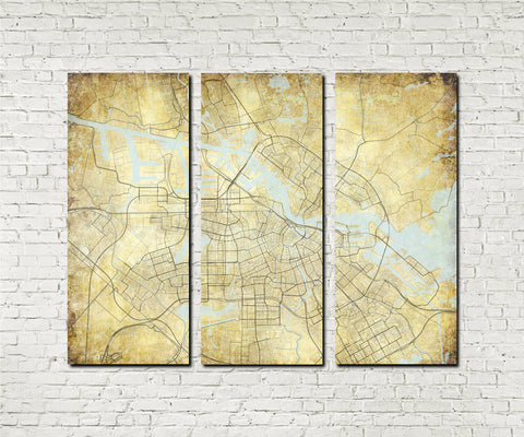 Amsterdam Street Map 3 Panel Canvas Wall Map