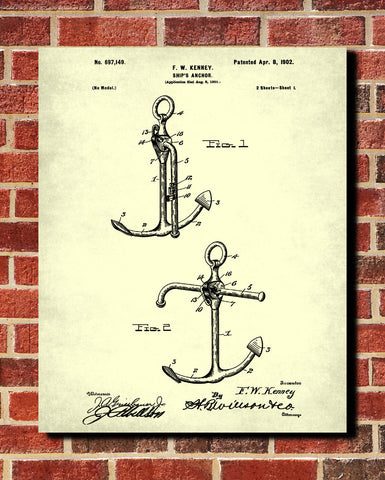 Anchor Blueprint Art Nautical Patent Print Sailing Poster - OnTrendAndFab
