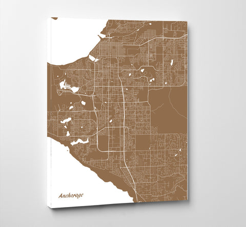 Anchorage City Street Map Print Custom Wall Map