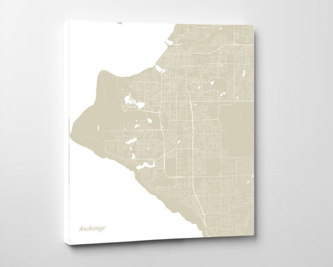 Anchorage, Alaska City Street Map Print Custom Wall Map
