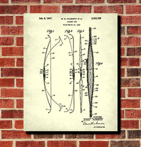Archery Poster Archer Patent Print Bow Blueprint
