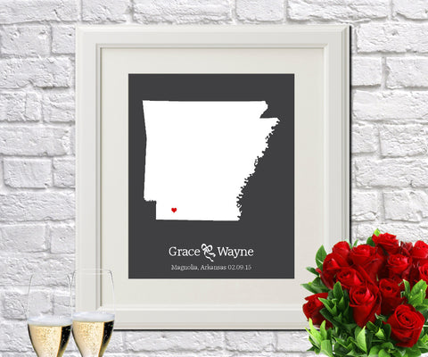 Arkansas Custom Wedding Engagement Art Print