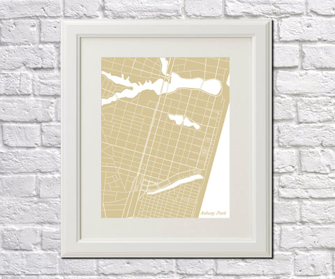 Asbury Park City Street Map Print Feature Wall Art Poster