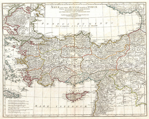 Asia Minor Map Print Vintage Poster Old Map as Art - OnTrendAndFab
