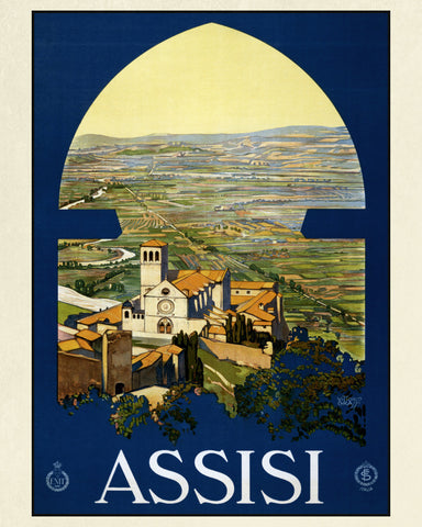 Assisi Italy Print Vintage Travel Poster Art - OnTrendAndFab