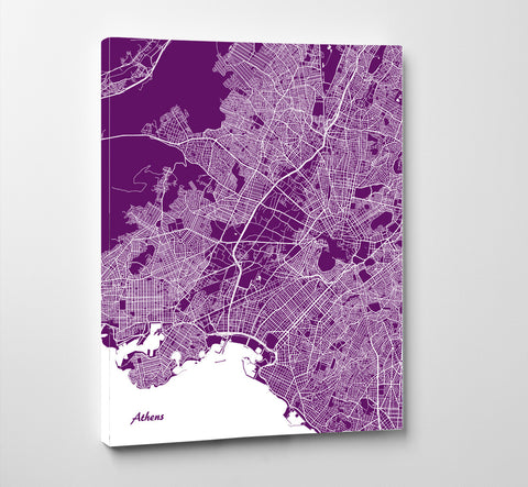 Athens City Street Map Print Feature Wall Art Poster