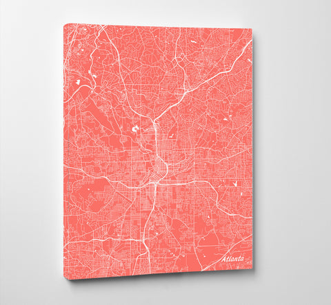 Atlanta City Street Map Print Feature Wall Art Poster
