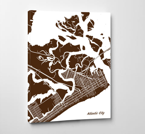 Atlantic City City Street Map Print Custom Wall Map