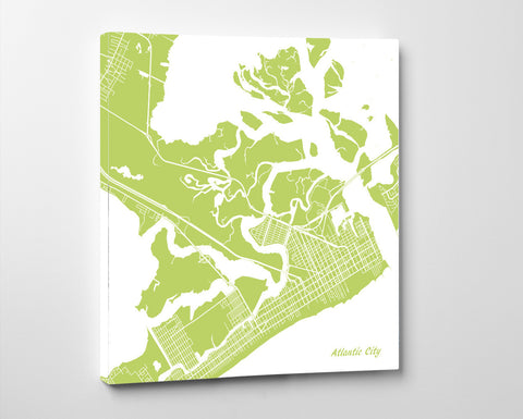 Atlantic City, New Jersey City Street Map Print Custom Wall Map