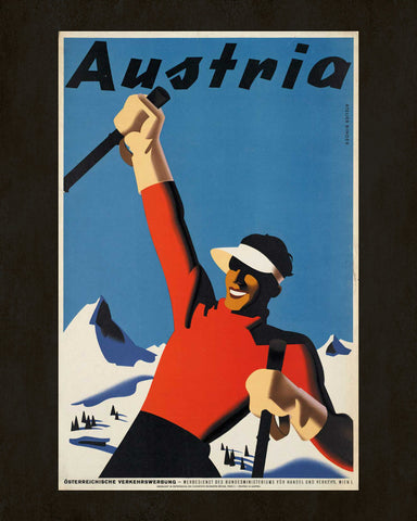 Austria Winter Skiing Print Vintage Travel Poster Art