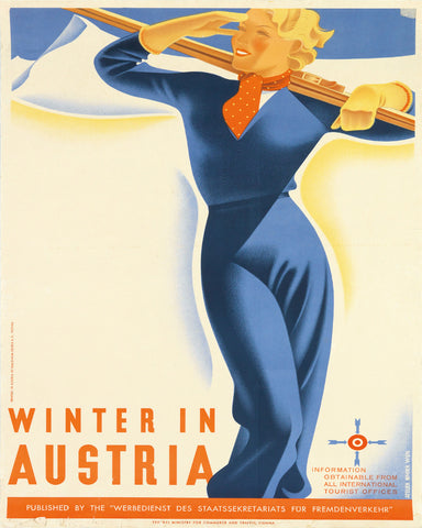 Austria Winter Skiing Print Vintage Travel Poster Art - OnTrendAndFab