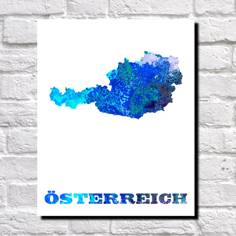 Austria Map Print Outline Wall Map of Austria