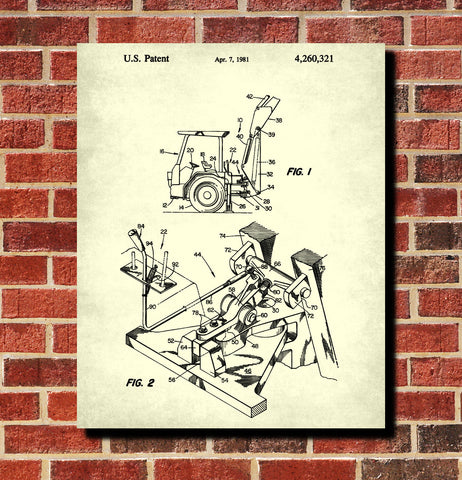 Backhoe Digger Patent Print Construction Blueprint Building Poster