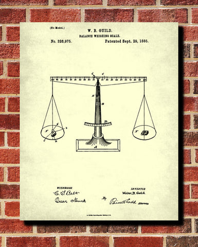 Scales Patent Print Balance Blueprint Legal Poster - OnTrendAndFab