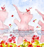 Ballerina Elephants Cute Children's Nursery Wall Art Print
