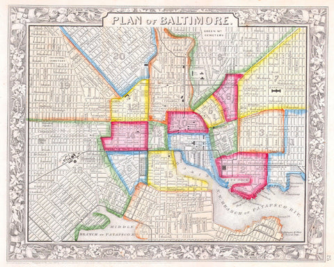 Baltimore City Street Map Print Vintage Poster Old Map as Art - OnTrendAndFab