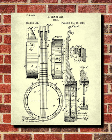 Banjo Patent Print Musical Instrument Wall Art Poster - OnTrendAndFab