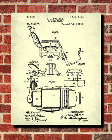 Barber Chair Patent Print Hairdressing Wall Art Poster