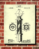 Barber Pole Patent Print Hairdressing Wall Art Poster