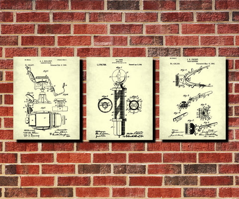 Barber Patent Prints Set 3 Hairdressing Posters - OnTrendAndFab
