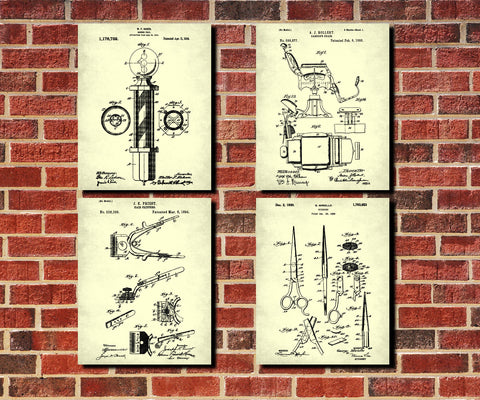 Barbershop Patent Prints Set 4 Hairdressing Posters